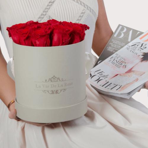 Laviedelarose.de Rosenbox Impressionen: rote Rosen der Infinity Edition in unserem Shop und auf Facebook entdecken